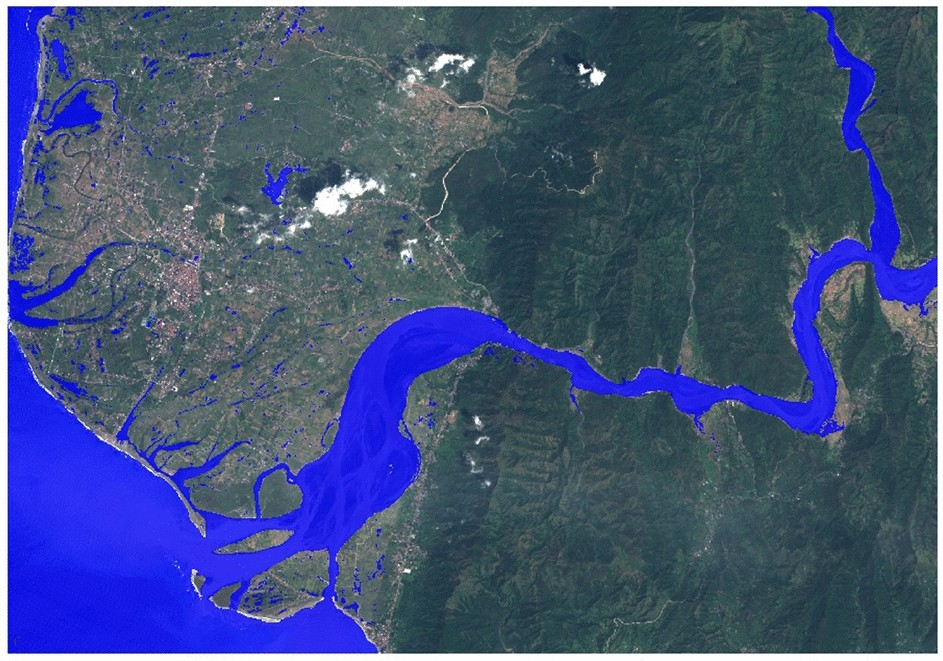 Towards global flood mapping onboard low cost satellites with machine learning